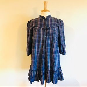 Blue Checkered H&M Long Shirt Dress (Size 4)